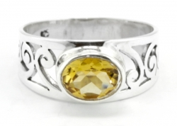 Citrin Ring facettiert,Ringgröße 55