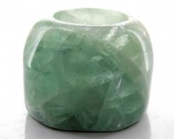 Edelsteinteelicht grüner Fluorit, ca. 8 x 6 cm