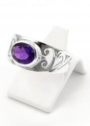 Amethyst Ring facettiert, Ringgröße 58