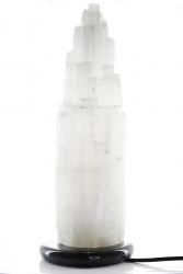 Selenit Lampe mit Marmorsockel ca. 38 cm hoch ca. 4,4 Kg